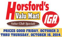 Weekly Specials: October 3-October 16, 2014