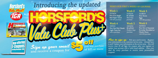 Horsford's Customers to receive Discounts and more benefits  with Valu Club Card Upgrade and Introduction of E-Coupons